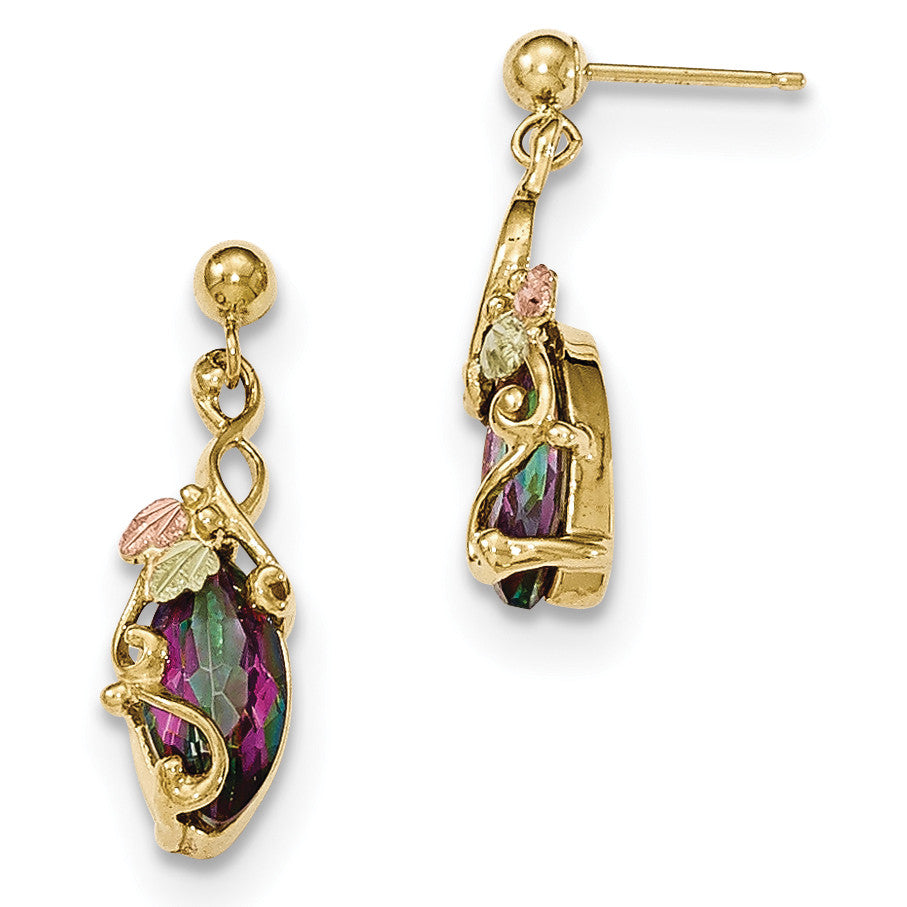 10k Tri-color Black Hills Gold Mystic Topaz Post Dangle Earrings 10BH662 - shirin-diamonds