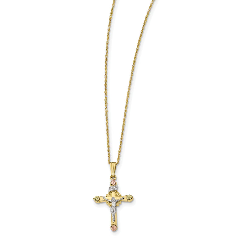10k & 14k Gold Filled w/ 12k Accents Cross Necklace 10BH691 - shirin-diamonds