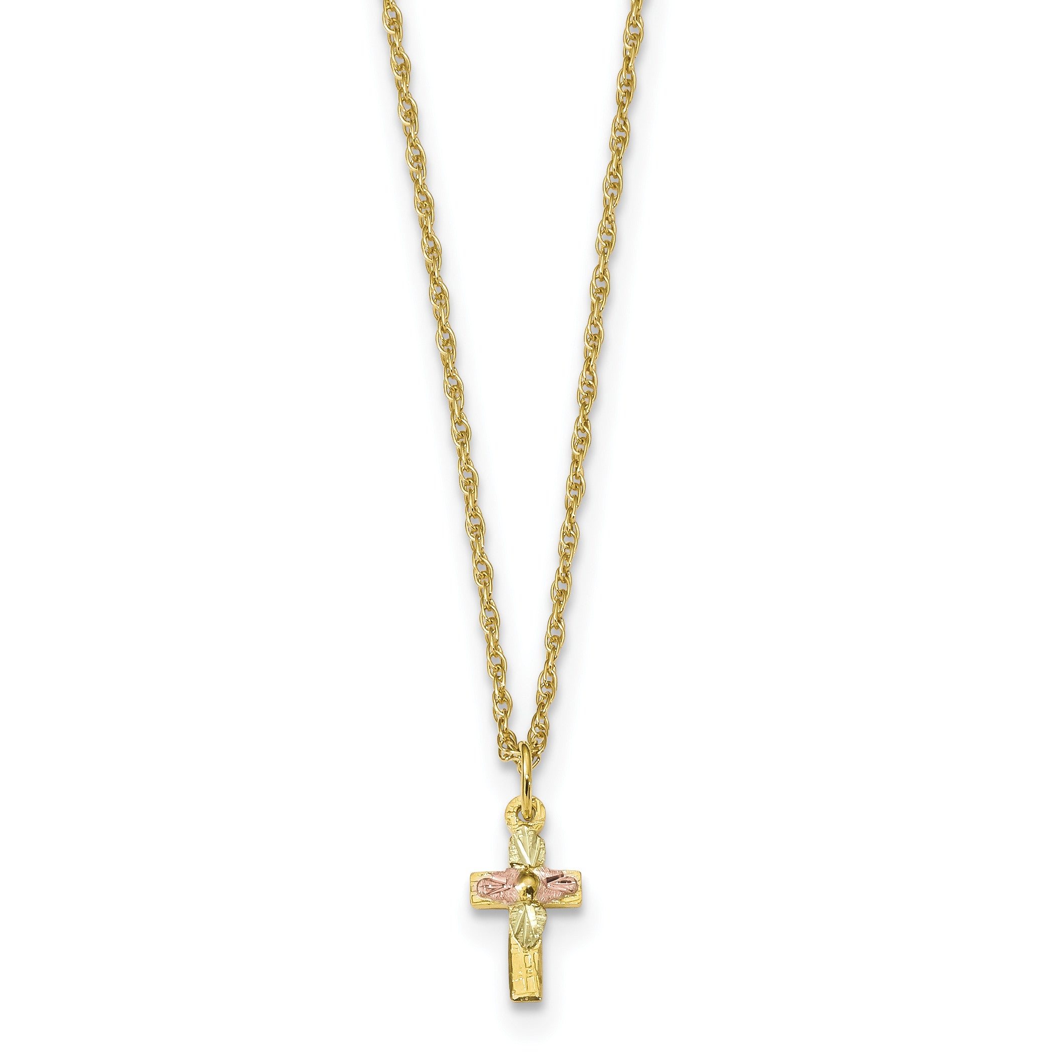 10k Tri-Color Black Hills Gold Cross Necklace 10BH703 - shirin-diamonds