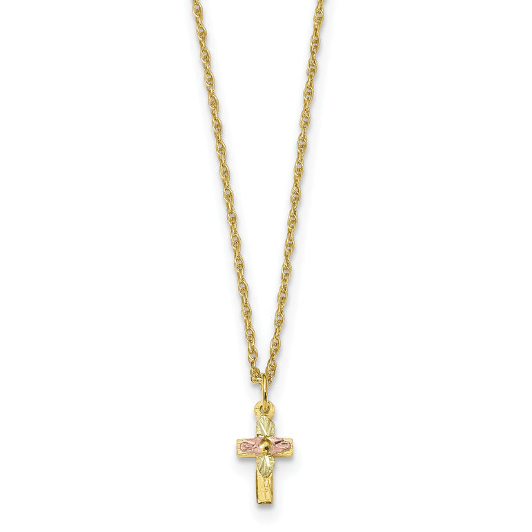 14k Yellow Gold Plain and Textured Double Layer Rounded Edge Cross Pendant Necklace