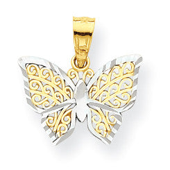10k & Rhodium Butterfly Charm 10C1001 - shirin-diamonds
