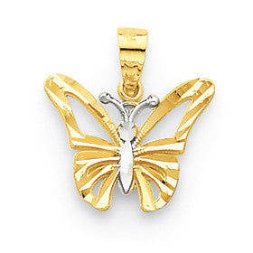 10k & Rhodium Butterfly Pendant 10C1005 - shirin-diamonds