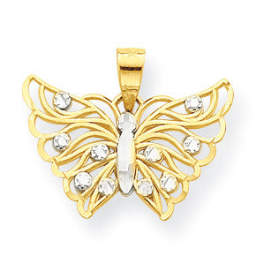 10k & Rhodium Butterfly Pendant 10C1006 - shirin-diamonds