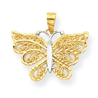 10k & Rhodium Butterfly Pendant 10C1008 - shirin-diamonds
