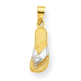 10k & Rhodium CZ Flip Flop Charm 10C1013 - shirin-diamonds