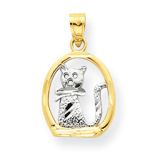 10k & Rhodium Cat Pendant 10C1027 - shirin-diamonds