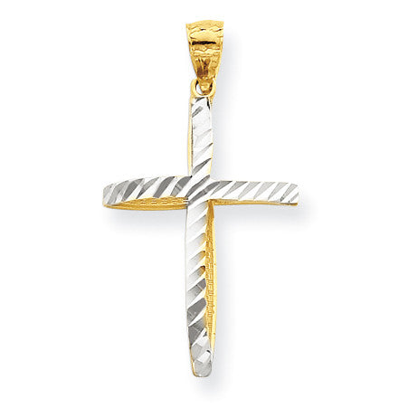 10k & Rhodium Cross Pendant 10C1100 - shirin-diamonds