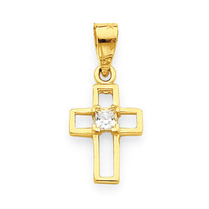 10k Small CZ Cross Pendant 10C1110 - shirin-diamonds