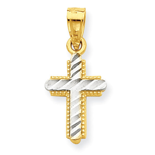 10k & Rhodium Diamond-Cut Cross Pendant 10C1120 - shirin-diamonds