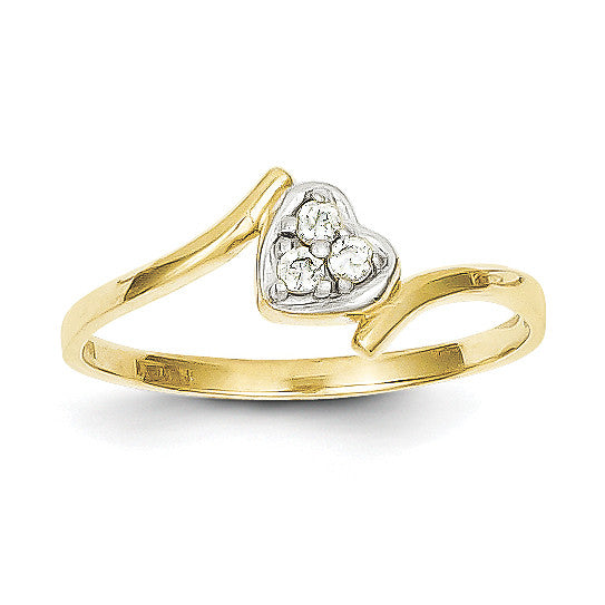 10k & Rhodium CZ Heart Ring 10C1212 - shirin-diamonds