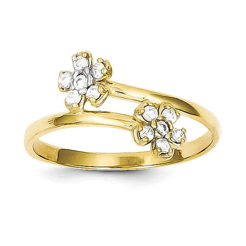 10k Double Flower CZ Ring 10C1215 - shirin-diamonds