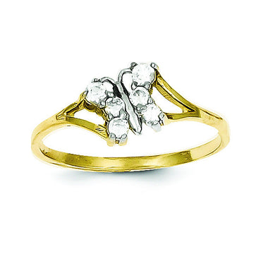 10k & Rhodium CZ Butterfly Ring 10C1232 - shirin-diamonds