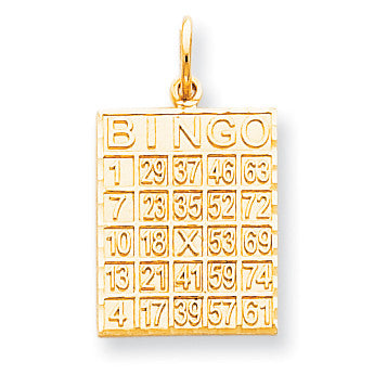 10k Solid Bingo Card Charm 10C728 - shirin-diamonds