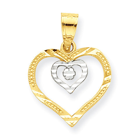 10k & Rhodium Heart Charm 10C933 - shirin-diamonds
