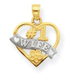 10k & Rhodium #1 Wife Heart Charm 10C964 - shirin-diamonds
