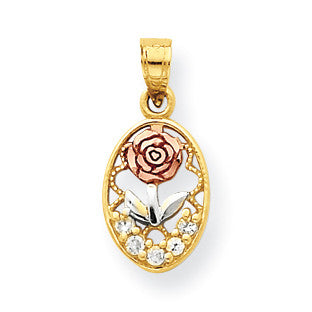 10k Two-tone & White Rhodium CZ Rose Charm 10C985 - shirin-diamonds