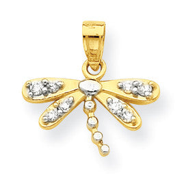 10k & Rhodium CZ Dragonfly Charm 10C996 - shirin-diamonds