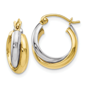 Leslies 10k Two-Tone Polished Hinged Hoop Earrings 10LE138 - shirin-diamonds