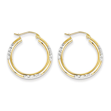 10K & Rhodium Diamond Cut 3mm Hoop Earrings 10TC355 - shirin-diamonds