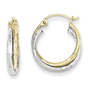 10K Two-tone Twist Hoop Earring 10TC366 - shirin-diamonds