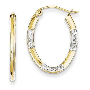 10K & Rhodium Diamond Cut Oval Hoop Earrings 10TC372 - shirin-diamonds