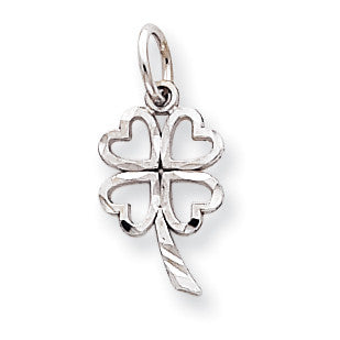 10k White Gold Solid Open 4-Leaf Clover Charm 10WC26 - shirin-diamonds
