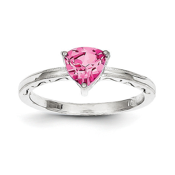 10k White Gold Created Pink Sapphire Ring 10X194 - shirin-diamonds