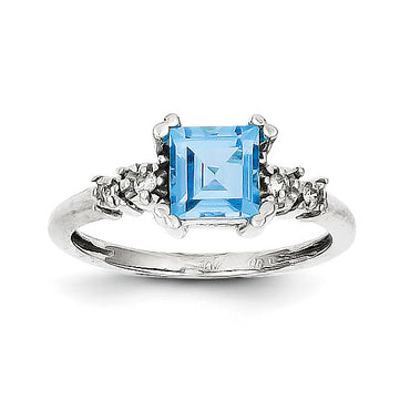 10k White Gold Diamond and Blue Topaz Ring 10X211 - shirin-diamonds