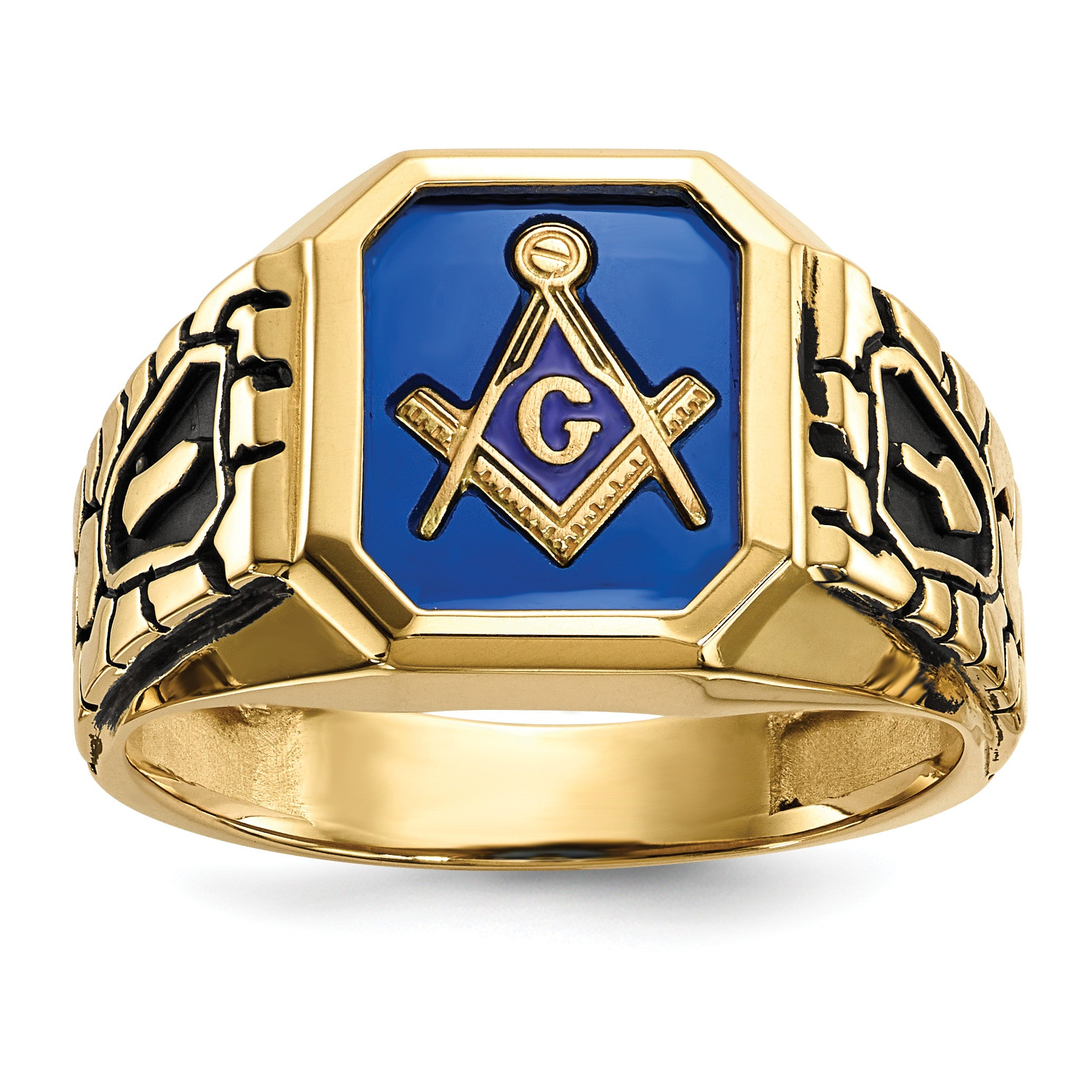 10k Blue Acrylic Men's Masonic Ring 10X27 - shirin-diamonds