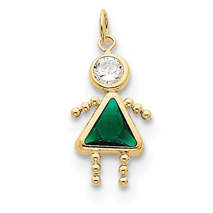 10k May Girl Birthstone Charm