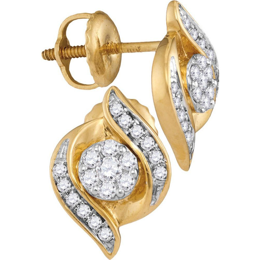 14kt Yellow Gold Womens Round Diamond Flower Cluster Screwback Stud Earrings 1/4 Cttw 110573 - shirin-diamonds