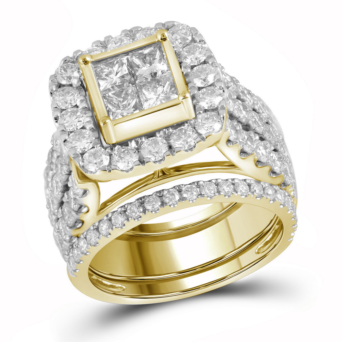 14kt Yellow Gold Womens Princess Diamond 3-Piece Bridal Wedding Engagement Ring Band Set 4.00 Cttw 110610 - shirin-diamonds