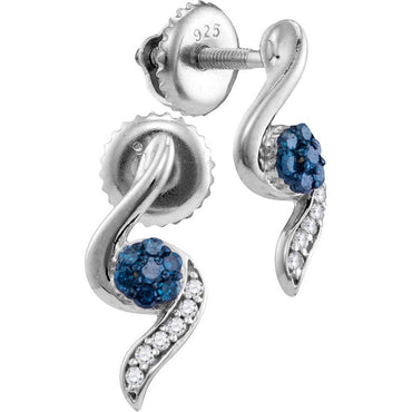 Sterling Silver Womens Round Blue Colored Diamond Cluster Stud Earrings 1/5 Cttw 110714 - shirin-diamonds