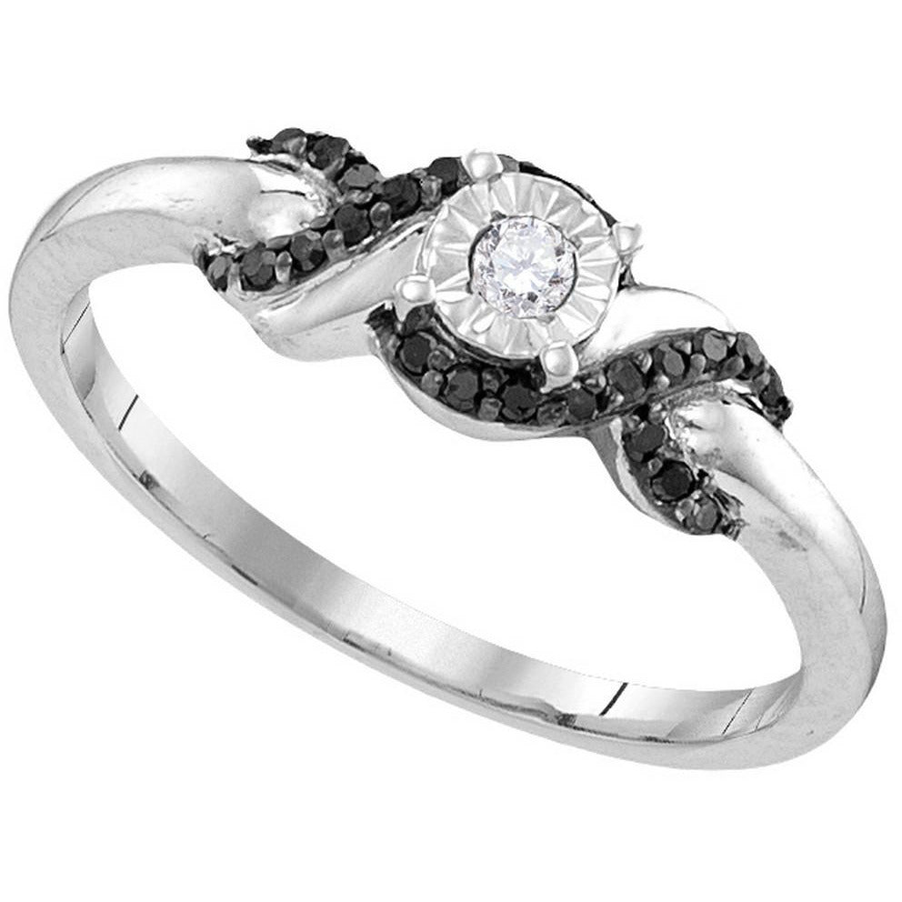 Sterling Silver Womens Round Diamond Solitaire Bridal Wedding Engagement Ring 1/6 Cttw 110784 - shirin-diamonds
