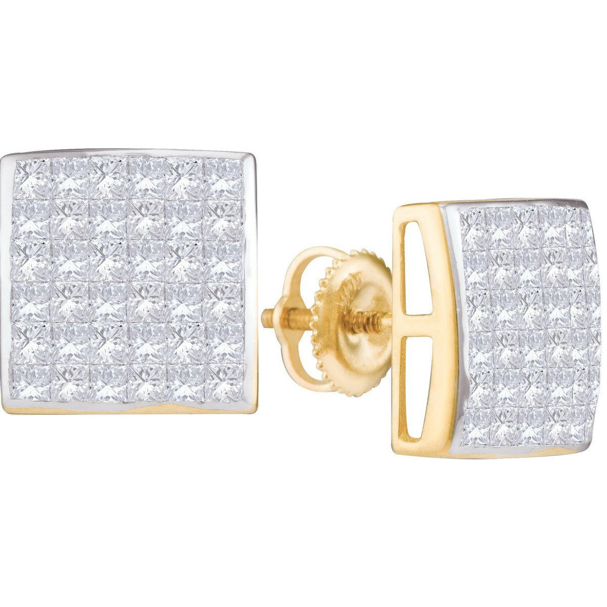 14kt Yellow Gold Womens Princess Diamond Invisible-set Cluster Screwback Earrings 2.00 Cttw 110799 - shirin-diamonds