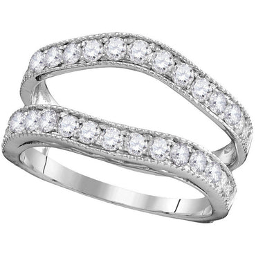 14kt White Gold Womens Round Diamond Ring Guard Wrap Solitaire Enhancer 1.00 Cttw 111254 - shirin-diamonds