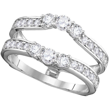 14kt White Gold Womens Round Diamond Ring Guard Wrap Solitaire Enhancer 1.00 Cttw 111260 - shirin-diamonds