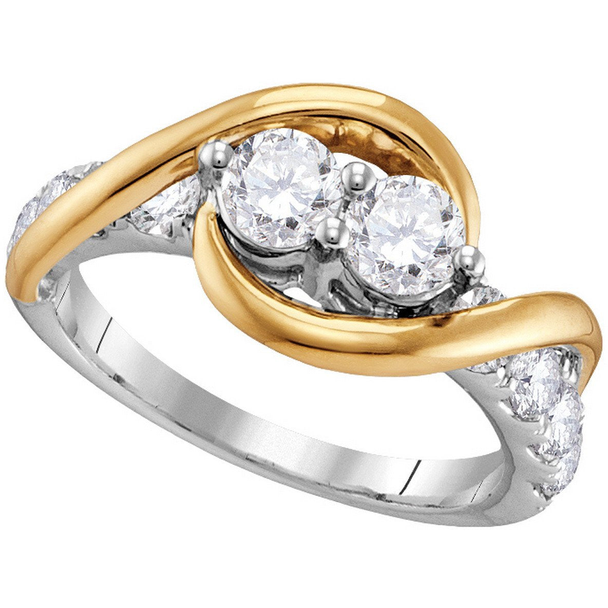 14kt Two-tone Gold Womens Round Diamond 2-stone Bridal Wedding Engagement Ring 1.00 Cttw 111799 - shirin-diamonds