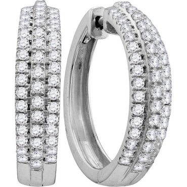 10kt White Gold Womens Round Diamond Huggie Earrings 1.00 Cttw 111884 - shirin-diamonds