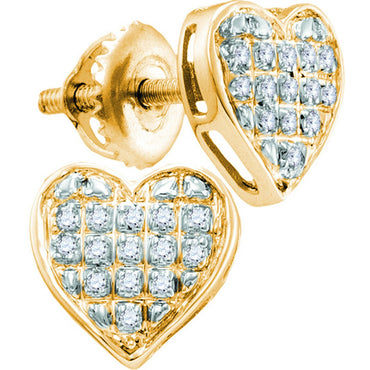 10k Yellow Gold Womens Diamond Heart Love Valentine Screwback Stud Earrings 1/20 Cttw 111915 - shirin-diamonds