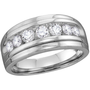 10kt White Gold Mens Round Diamond Band Wedding Anniversary Ring 1.00 Cttw 112808 - shirin-diamonds