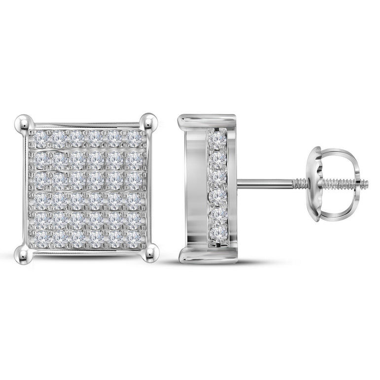 10kt White Gold Womens Round Diamond Square Cluster Stud Earrings 1-1/2 Cttw 112840 - shirin-diamonds