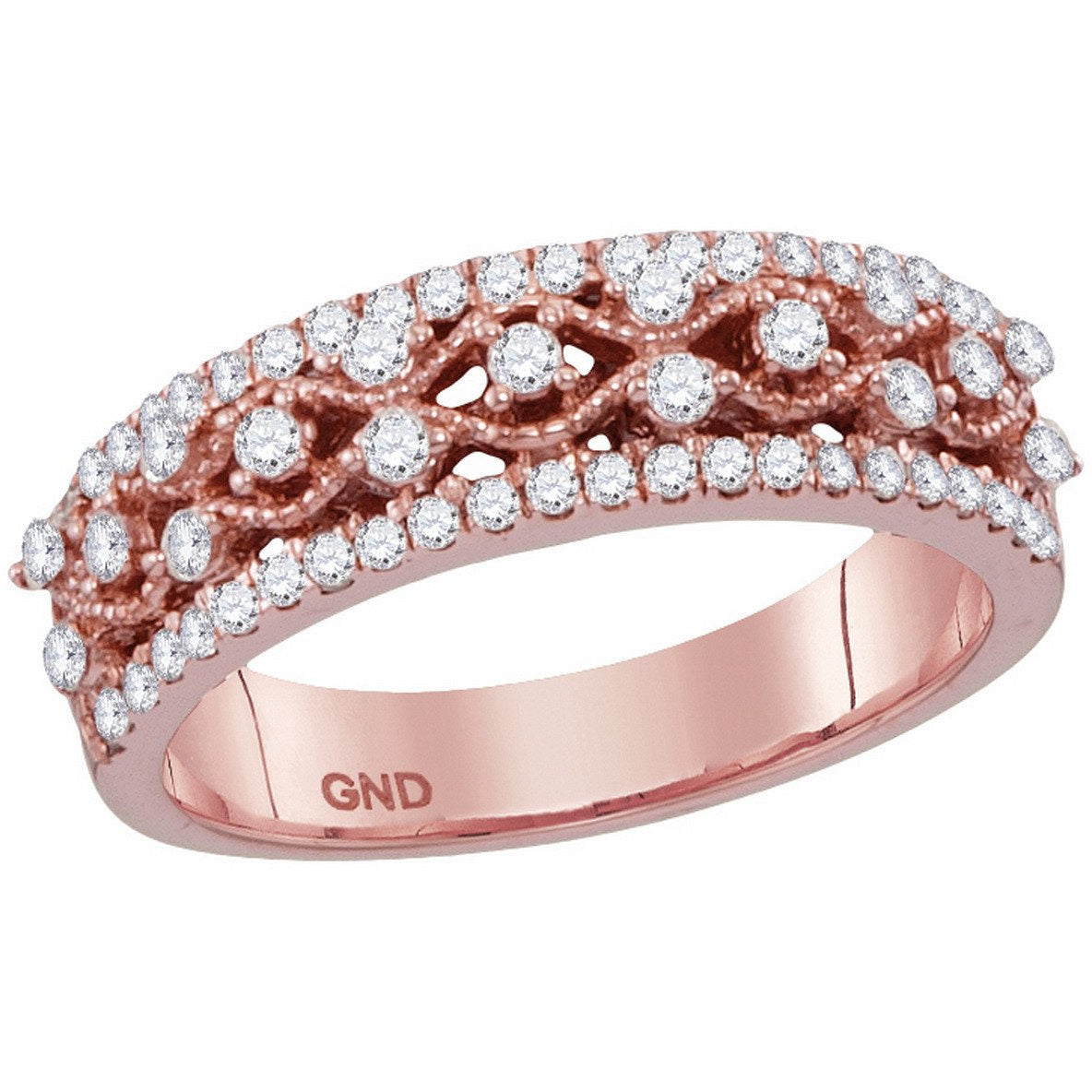 10kt Rose Gold Womens Round Diamond Roped Woven Band Ring 1/2 Cttw 113099 - shirin-diamonds
