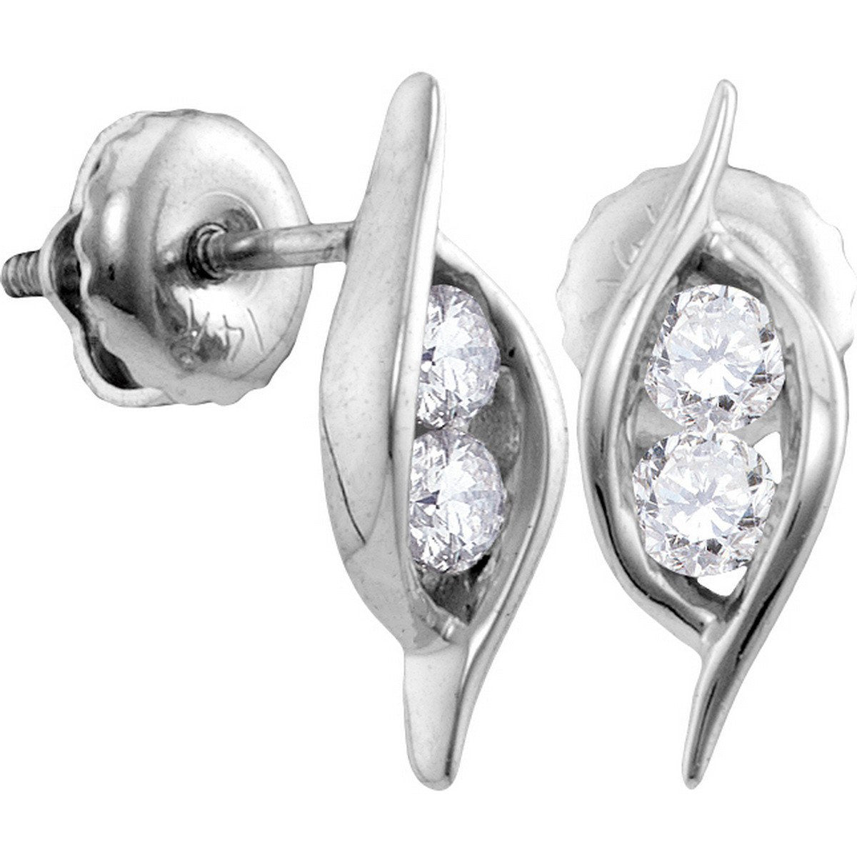 14kt White Gold Womens Round Diamond 2-stone Hearts Together Screwback Stud Earrings 1/4 Cttw 113245 - shirin-diamonds