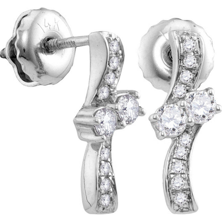 14kt White Gold Womens Round Diamond 2-stone Hearts Together Screwback Stud Earrings 1/4 Cttw 113250 - shirin-diamonds