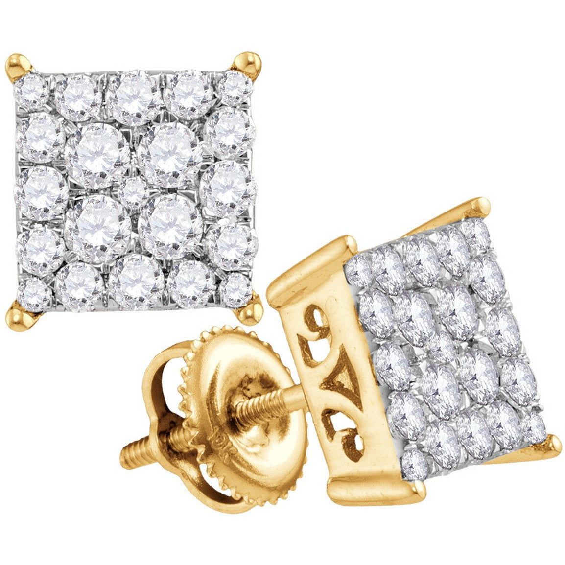 10kt Yellow Gold Womens Round Diamond Square Cluster Stud Earrings 1.00 Cttw 113305 - shirin-diamonds