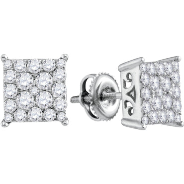 10kt White Gold Womens Round Diamond Square Cluster Stud Earrings 1.00 Cttw 113307 - shirin-diamonds