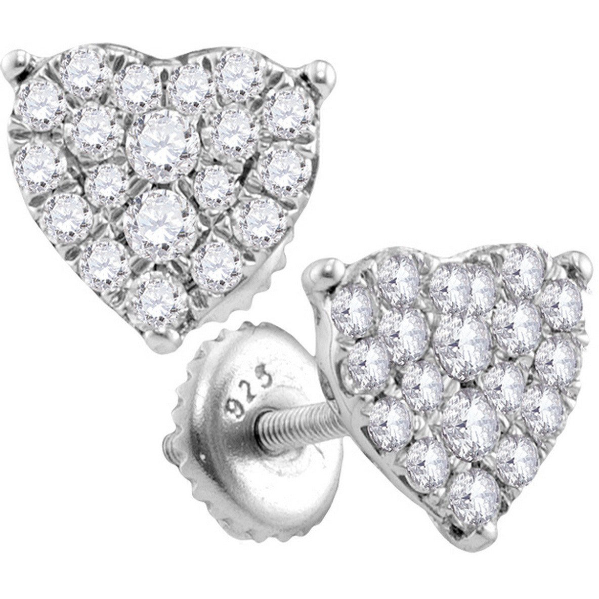 10kt White Gold Womens Round Diamond Heart Cluster Screwback Stud Earrings 3/4 Cttw 113336 - shirin-diamonds