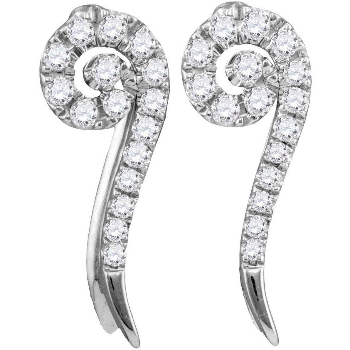 10kt White Gold Womens Round Diamond Curled Vertical Stud Earrings 1/4 Cttw 113468 - shirin-diamonds