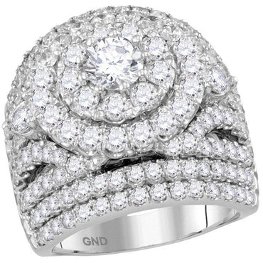 14kt White Gold Womens Round Diamond Cluster Halo Bridal Wedding Engagement Ring 5.00 Cttw 113704 - shirin-diamonds